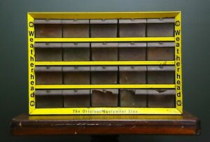 Vintage Weatherhead 20 Drawer Metal Store Display Parts Storage Cabinet Bin