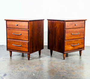Mid Century Modern Nightstands End Side Table Prelude Ace Hi Solid Walnut Danish