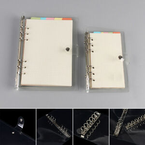 A5 a6 a7 Transparent Loose Leaf Ring Binder Notebook Weekly Planner Diary New