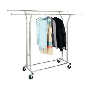 High Quality Steel Adjustable Clothing Rolling Double Garment Rack Hanger Holder