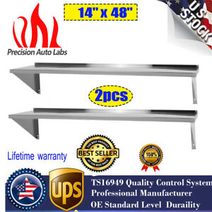 2pcs 14 X 48 Shelf Commercial Kitchen Stainless Steel Wall Shelving New Gd