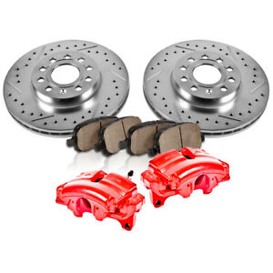 Front Red Brake Calipers And Pads Rotors For 2005 2006 Nissan Armada Titan