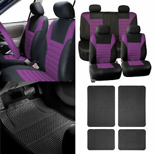 Combo Purple Auto Seat Covers Set With Black Floor Mats For Car Suv 4 Headrests