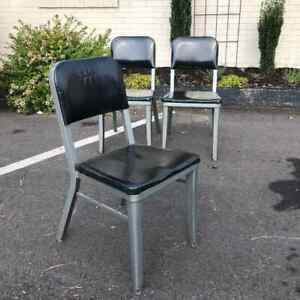 Lot Of 3 Midcentury Industrial Modern Steelcase Metal Guest Office Chairs