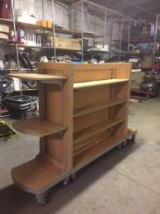 Cherry Wood Displays Rolling Upscale Grid Used Store Fixtures Shelves Impulse