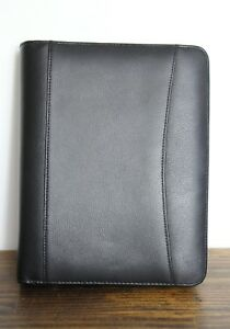 Franklin Planner Black Leather Business Organizer Binder Folder 7x1 r Size 10x8