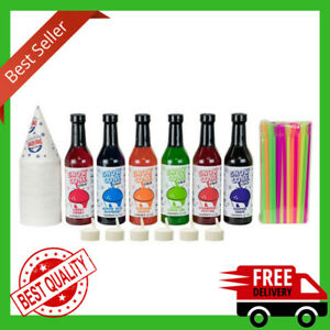 Snow Cone Kit 12 7 Ounce With Cups Straws Shave Ice Syrups Flavors 6 Bottles New