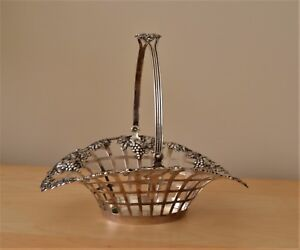 Gorham Sterling Silver Lattice Swing Handle Basket Grapes And Grape Leaves