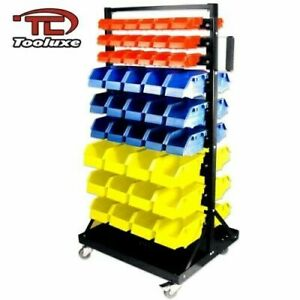 Tooluxe 53015l Parts Cart Organizer With 90 Polypropylene Bins And Lockable Cast