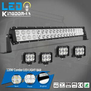 24inch 120w Led Light Bar Spot Flood Combo 4x 4 Pods Fog Suv 4wd Atv 22