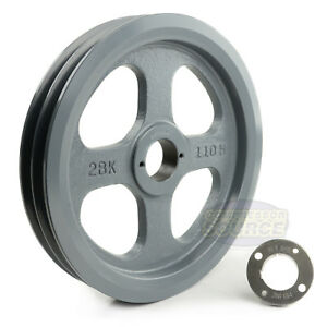 Cast Iron 10 75 2 Groove Dual Belt B Section 5l Pulley 1 3 8 Sheave Bushing