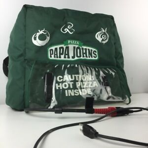 Papa Johns Green Fancy Veggie Decor Insulated Pizza Delivery Bag Carrying Case