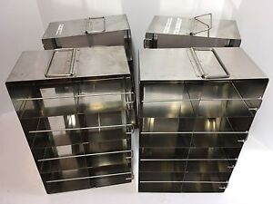 Lot Of 4 Cryogenic Stainless Steel Freezer Racks 14 x9 x5 5 Used
