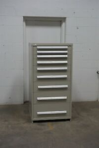 Used Stanley Vidmar 9 Drawer Cabinet Industrial Tool Parts Storage 665