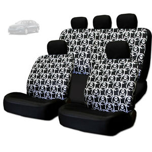 For Kia New Cool Skull Design Front And Rear Car Seat Covers Set
