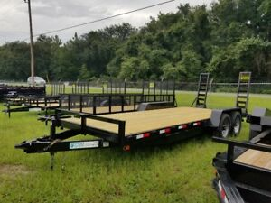 7x20 Equipment Trailer Tandem Axle 14 000 Lb Gvwr Ramps Usa Made 7 Ft X 20 Ft