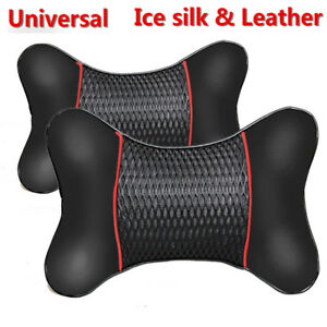 2pcs Car Pu Leather Neck Seat Pillow Head Rest Car Cushion Support Accessories