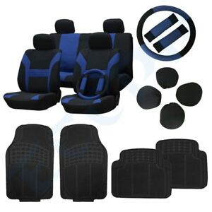 Car Floor Mats And Black Blue Car Seat Covers W belt Pads steering Wheel Cover