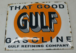 Gulf Oil Vintage Style Porcelain Signs Gas Pump Man Cave Station