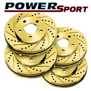 Fit 1998 1999 Gmc chevrolet Jimmy blazer Front Rear Gold Drill Slot Brake Rotors