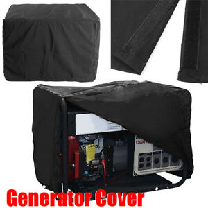 Black Polyester Waterproof Dustproof Generator Cover All Weather Protector Large