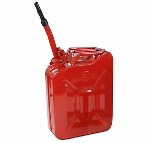 5 Gallon Red Metal Gas Can Military Grade Emergency Fuel Tank Storage W Spout