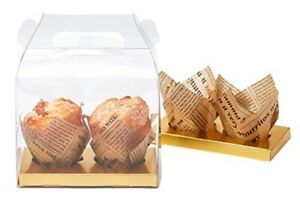 Yotruth Bakery Clear Cupcake Box For 2 Holders handle And Gold Insert 10 Pack
