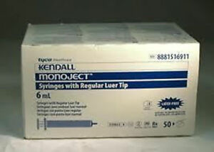 6cc 6ml Kendall Monoject Regular Luer Tip Plastic Disposable Syringes 50 Count