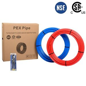 2 Rolls 3 4 X 100ft 200ft Blue red Pex Pipe tubing With Free Cutter