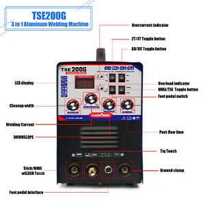 2 In 1 Aluminum 200a Tig Welder Digital Display Stick Arc Ac Dc Inverter Welding