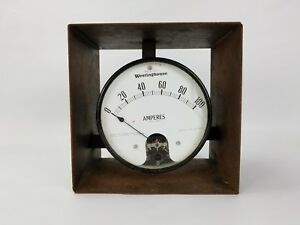 Antique Industrial Amperes Amp Dc Meter Westinghouse In Metal Box Steampunk