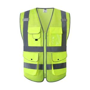 9pockets Class 2 High Visibility Zipper Front Safety Vest With Reflective Strips