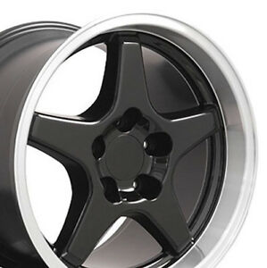 17x11 17x9 5 Wheels Fit Corvette Camaro Zr1 Style Black Rims Staggered Set Cp