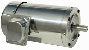 3 4 Hp Electric Motor 56c 3 Phase Stainless Steel Washdown 1800 Rpm Round