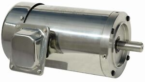 1 5 Hp Electric Motor 56c Stainless Steel Washdown 3600 Rpm 3 Phase Premium