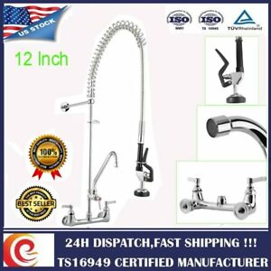 Commercial Pre rinse Faucet Pull Out Down Sink Kitchen With Sprayer 12 Add on