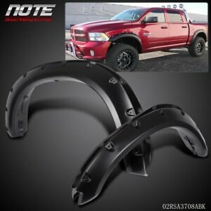 For 09 18 Dodge Ram 1500 3 Smooth Black Pocket riveted Wheel Fender Flares