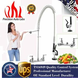 Pull Out Commercial Pre rinse Kitchen Faucet Sink Mixer Tap Wall Mounted Mv
