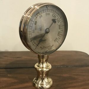 L k Antique Early Crosby Brass Gauge Steampunk Industrial Display