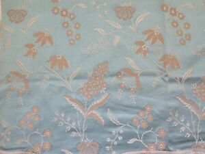 French Antique 19thc Blue Patterned Silk Floral Jacquard Fabric 26 Lx24 W