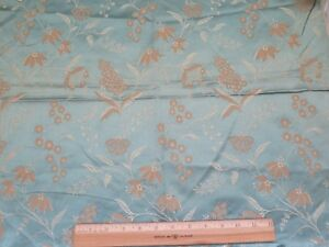 French Antique 19thc Blue Patterned Lyon Silk Floral Jacquard Fabric 24 Lx21 W