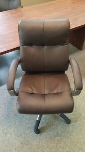 Lot Of 10 Brown Leather Mid Back Conference Room Office Chairs