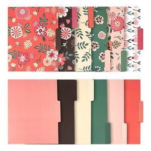 12 Pack Decorative Assorted File Folder Set 6 Floral Designs And 6 Solid Co