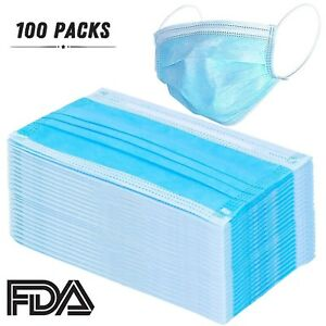 100 Pcs Disposable Earloop Face Masks Dental Surgical Hypoallergenic Breathab