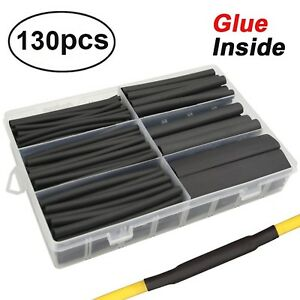 130 Pcs 3 1 Dual Wall Adhesive Heat Shrink Tubing Kit 6 Sizes dia 1 2 3 8