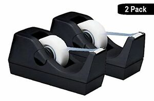 1intheoffice Desktop Tape Dispenser Black 2 Pack