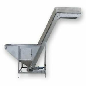 Used 17 W X 11 L Inclined Stainless Steel Cleated Belt Conveyor Elevator Lift