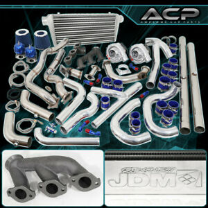 Twin Turbo Kit Intercooler Piping Down Pipe Drag Track For 94 95 96 97 Mustang
