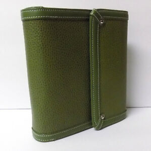 Franklin Covery Leather Planner Binder Magnetic Snap Olive Moss Green Pocket
