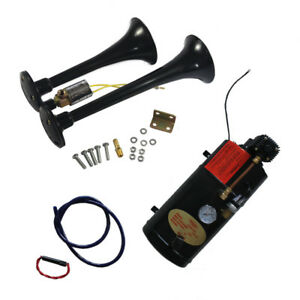 Loud 2 Trumpet W 120 Psi Black Train Horn Kit Air Compressor Complete System